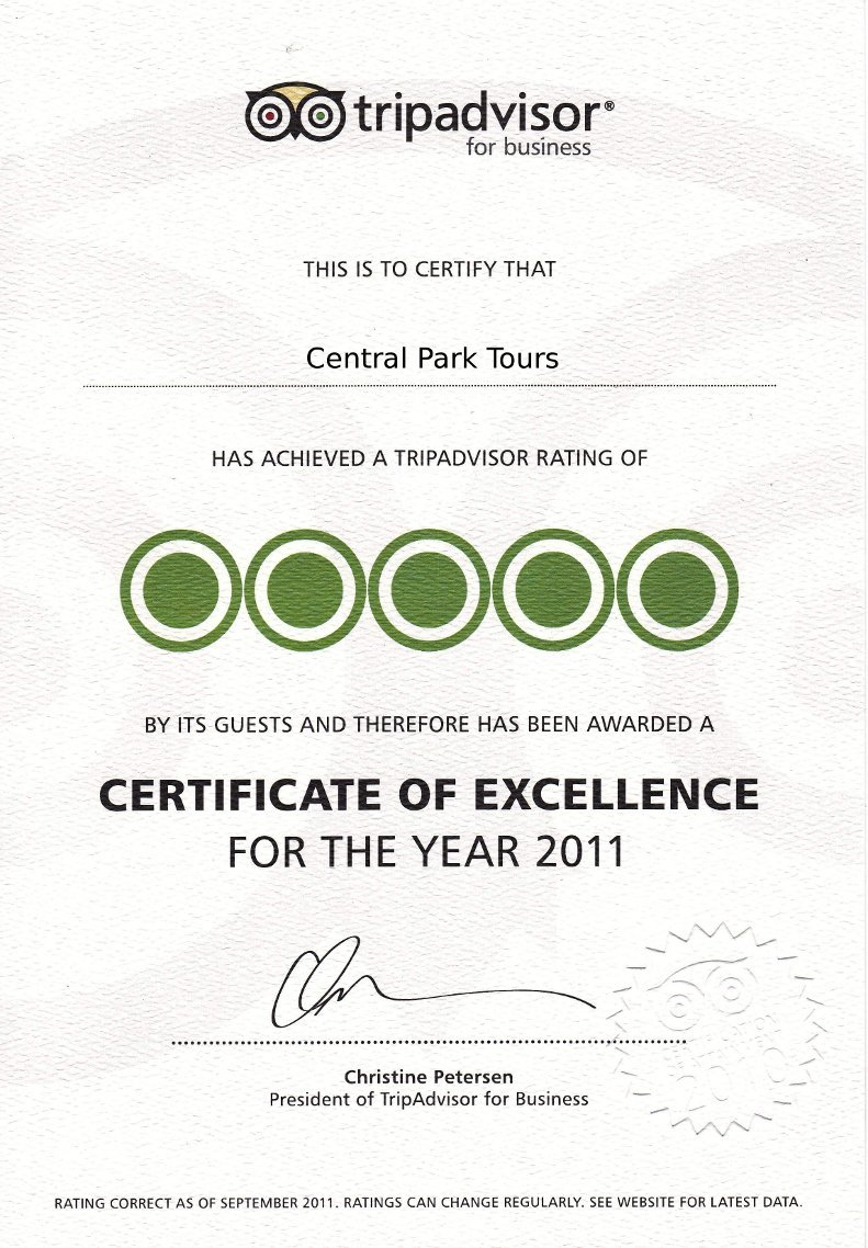 Certificate of excellence - 2011